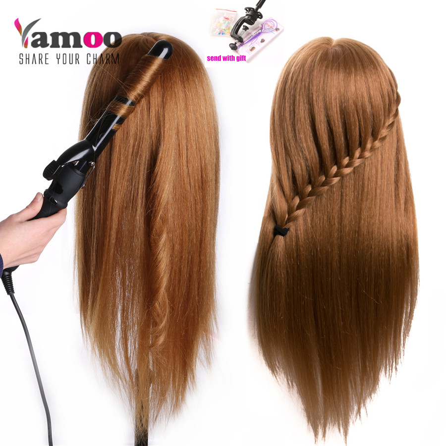 Tête d'entraînement Pour Salon 60% vrais cheveux humains De Coiffure Mannequin Poupées coiffures professionnel style tête peut être cheveux bouclés