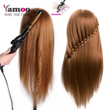 Training Head For Salon 80% real Human Hair Hairdressing Mannequin Dolls hairstyles professional styling head can be curled hair