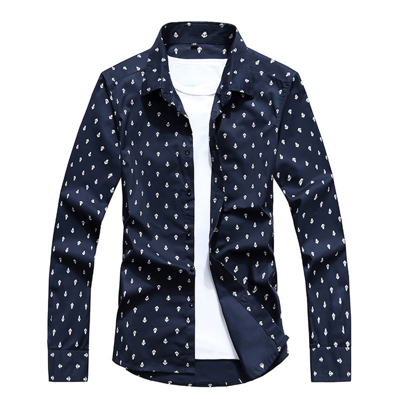 men's shirts spring cotton basic business printed casual tops - E-Fashion Men store