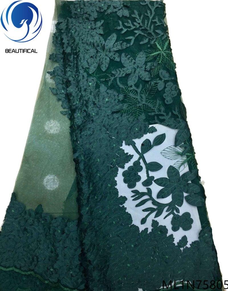 Beautifical afrikaanse kant stoffen 2019 Mode Lasersnijden Jacquard stof nigeriaanse netto kant stof voor jurken 5yards ML1N758-in Kant van Huis & Tuin op  Groep 1