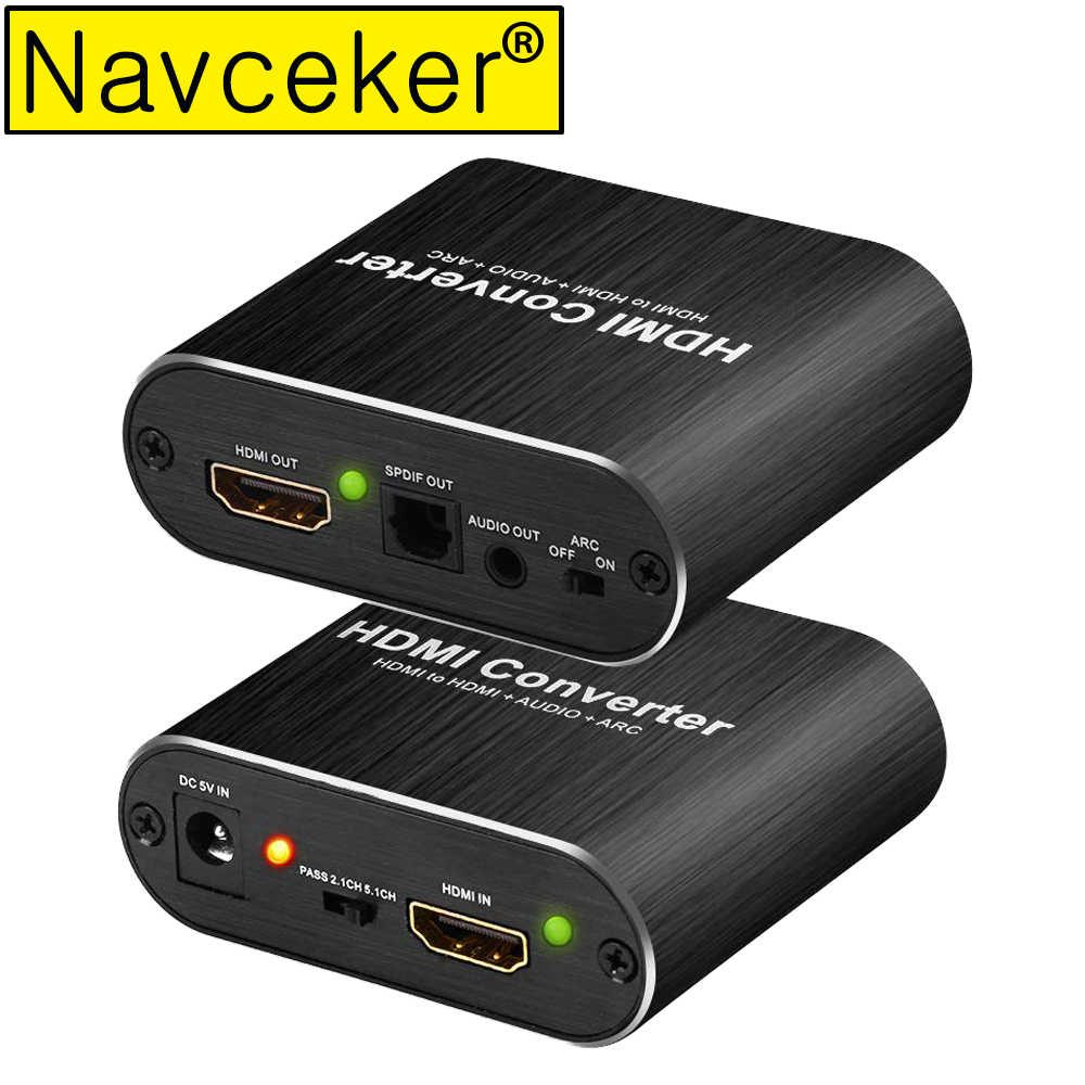 2020 4K HDMI Audio Extractor Splitter ARC HDMI Audio Extractor 5.1 RCA HDMI To HDMI Converter With Optical TOSLINK SPDIF 3.5mm
