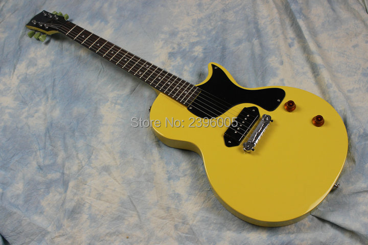 Hot Sale lp studio electric guitar yellow color P90 pickups one piece tail bridge mahogany body high quality real guitar picture electric guitar musical instrument lp standard p90 hh pickups chrome parts no pickguard
