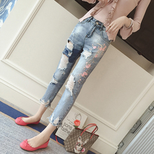 5xl плюс большой размер джинсы трусики женщины весна осень 2017 feminina вышивания отверстие тонкие haroun джинсы брюки женские A3274