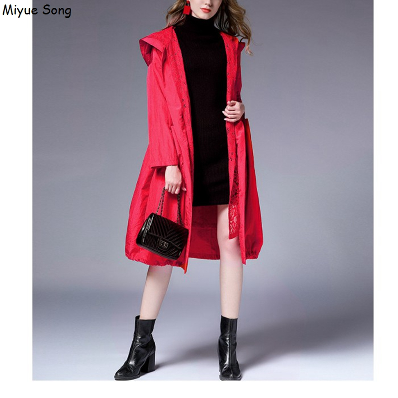 Maternity Coats New Fashion Lace Hooded Jacket For Pregnant Women Casual Long TypeDrawstring Waist Pregnancy Coat waist belted solid long coat