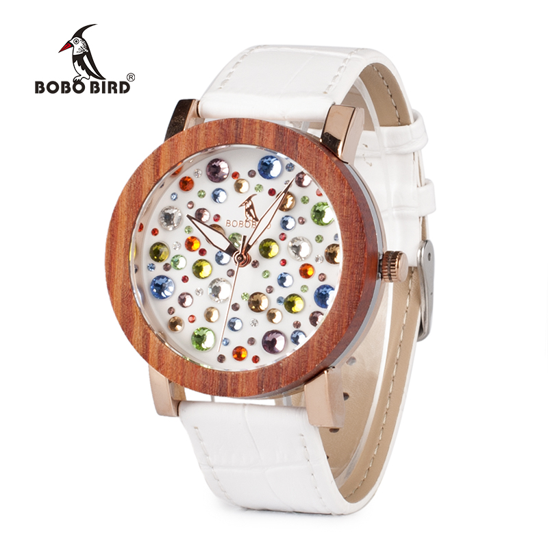 2017 Luxury Brand BOBO BIRD Watch Women Wooden Watches Genuine White Leather Strap Ladies Wristwatch relogio feminino C-J04 ultra luxury 2 3 5 modes german motor watch winder white color wooden black pu leater inside automatic watch winder