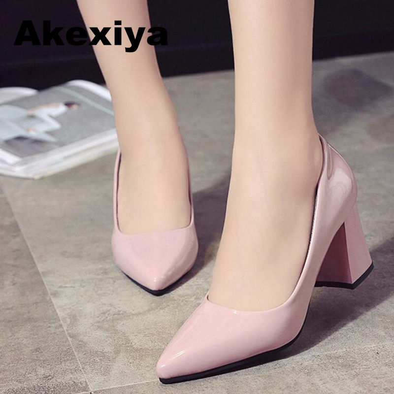Akexiya Women Pumps 2017 New Pointed High Heels Wedding Shoes Shallow Mouth Patent Leather Sexy Rough With Woman Shoes new women pumps shoes high heels 12cm luxury designer patent leather wedding bridal shoes sexy women s shoes with heels b 0052