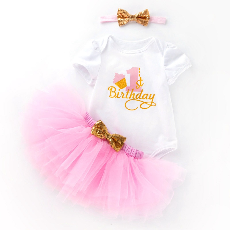 My First Birthday Tutu Lace Dresses Newborn Infantil Cute Princess Happy Party 2018 New Year Gift For 0-24Month Outfits Clothing