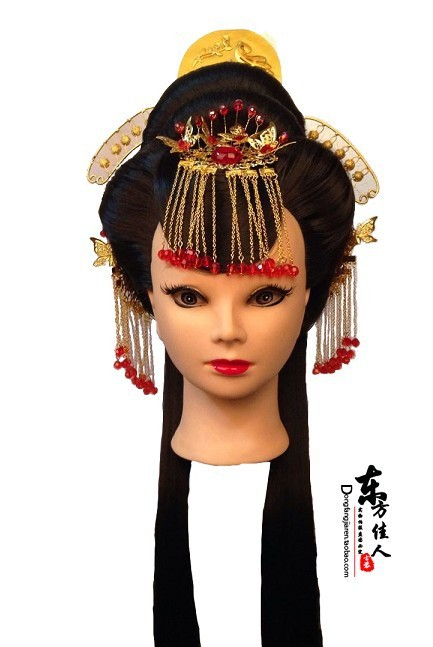 Taoyao Ancient Chinese Bride Red Wedding Hair Jewelry  Hair Tiaras 00008 red gold bride wedding hair tiaras ancient chinese empress hair piece