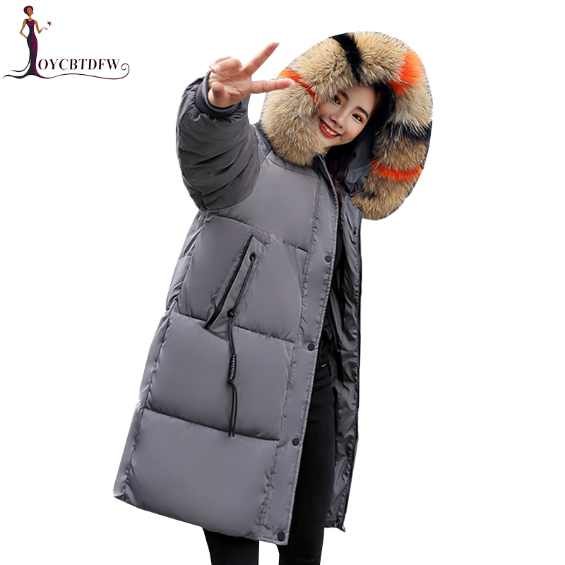 Large Size Winter Women long Hooded Cotton Jacket Coats 2018 Fashion New Warm Parkas Casual Female Down Cotton Outerwear NO373