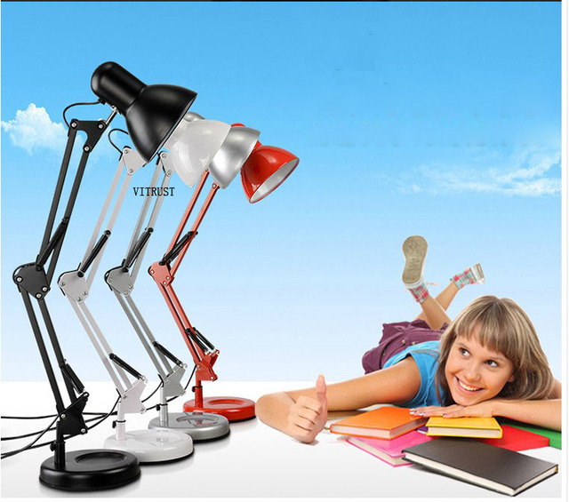 Lamparas de mesa American Abajur Para Quarto Desk Lamp LED Clip Folding Para Study Work Long Arm Folding Quarto Led Clip Lamp
