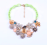 Shijie New Hot Sale Jewelry Personalised Latest Imitation Jewelry Factory For Summer Pink Green Flowers Statement