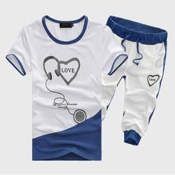2018 летние Для мужчин; комплекты с короткими рукавами, модная дышащая короткий рукав Спортивные костюмы, о-образным вырезом печати мужчина