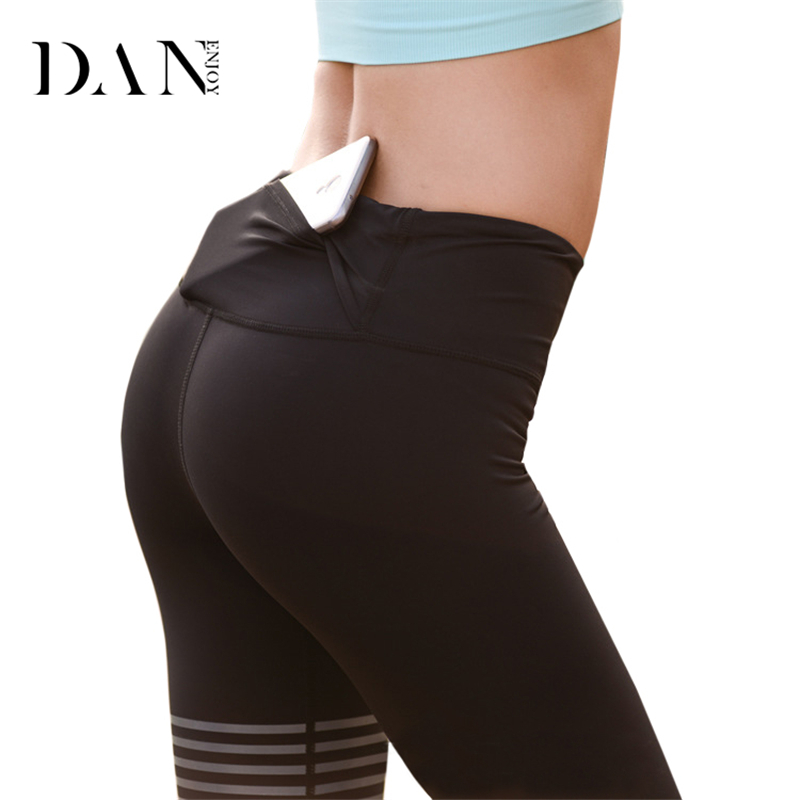 DANENJOY Leggings Compression Running Pants For Women Yoga Pants Fitness Tights Pocket Jogging Sportswear Quick Dry Sport Suit