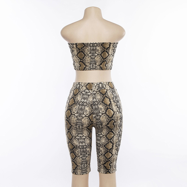 Cryptographic new Fashion snake print sexy strapless crop top 2 pieces women's set high waist pants 2019 spring outfits short
