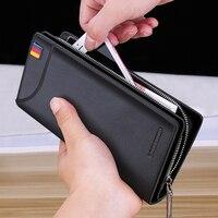 LAORENTOU Men Wallets Genuine Cow Leather Long Clutch Zipper Wallets for Business Men Soft Leather Clutch Bags New Arrival