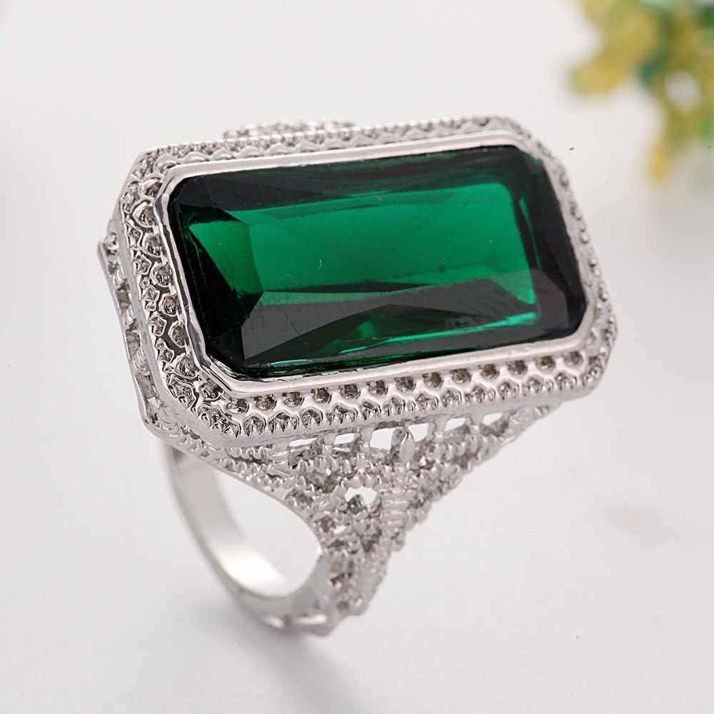 Ретро зеленые обручальные кольца с камнями для женщин выемчатое кольцо свадебное квадратное Кольцо женское кольцо emujer E5N543