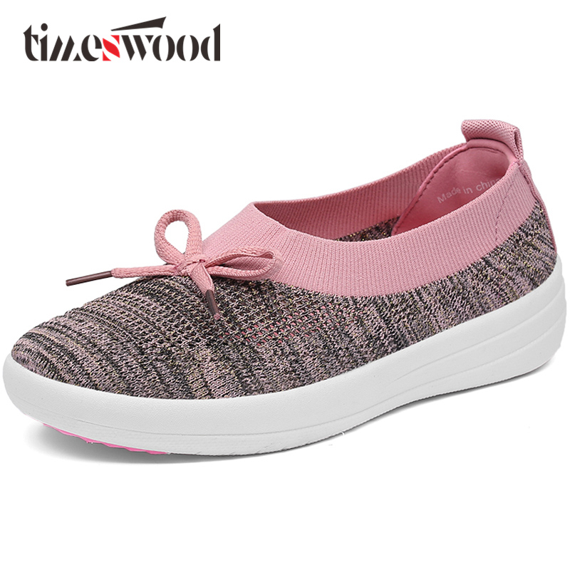 TIMESWOOD Flat Women Shoe Comfortable Air Mesh Non-slip Female Shoes Breathable Bowknot Lightweight Casual Handmade Size 35-40 plus size casual women shoe mesh breathable sneaker female light summer couple shoes free shipping gold silver black huarche