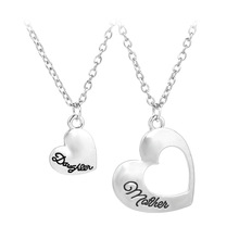 Yisoso Heart letters Jewelry Stainless Steel Mother and Daughter Splicing Double Heart Pendant Chain Necklace Women Bijoux XL062