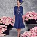 Mãe Da Noiva Vestidos de Azul Marinho Mulheres Vestidos De Novia 2016 com Jacket A-line Chiffon Apliques de Cristal Vestido