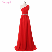 Red A-line One-shoulder Chiffon Beaded Backless Women Elegant Prom Dress