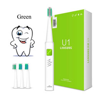 LANSUNG Ultrasonic Sonic Electric Toothbrush USB Charge Rechargeable Tooth Brushes With 4 Pcs Replacement Heads Timer