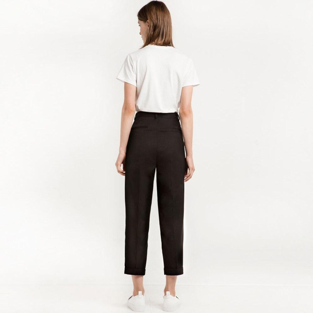 HYH HAOYIHUI Women Pants Autumn Solid Black High Waist Slim Female Pants Basic Casual Streetwear Loose Female Pants in Pants amp Capris from Women 39 s Clothing