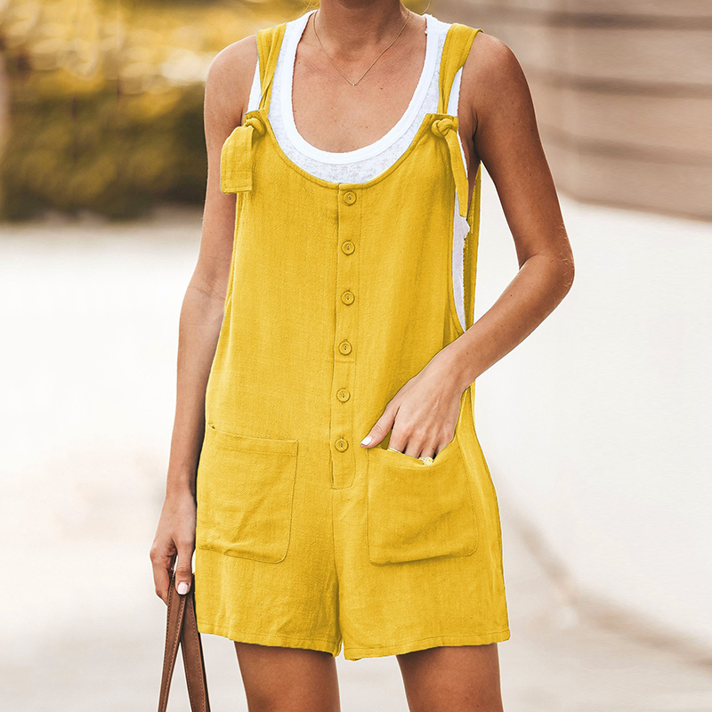 2019 Women U-neck Strap Overall Ladies Summer Sleeveless Shorts Mini   Jumpsuit