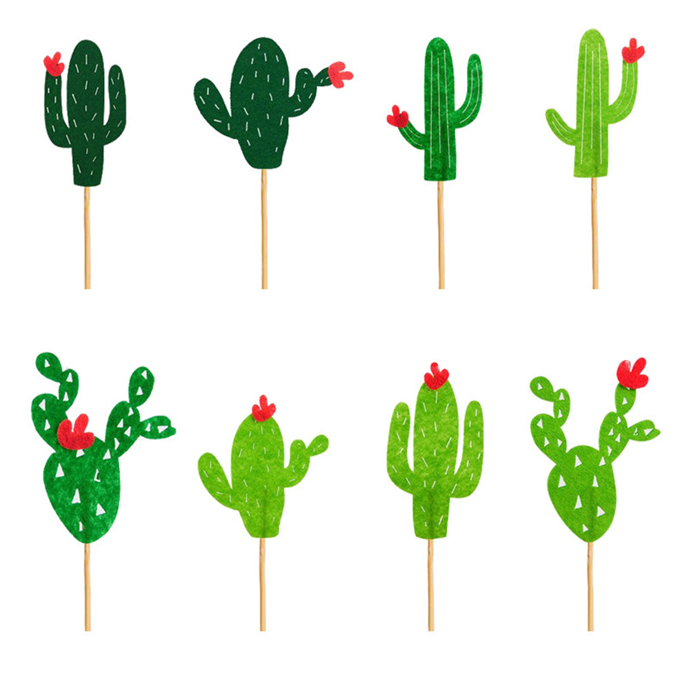 8Pcs/lot Cactus Cake Topper Flags For Wedding Birthday ...