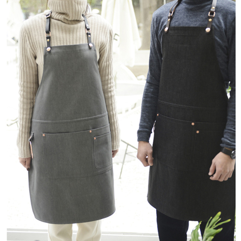 Black Gray Denim Apron Leather Strap Barber Artist Florist Work Wear Barista Bartender Baker Bartender BBQ