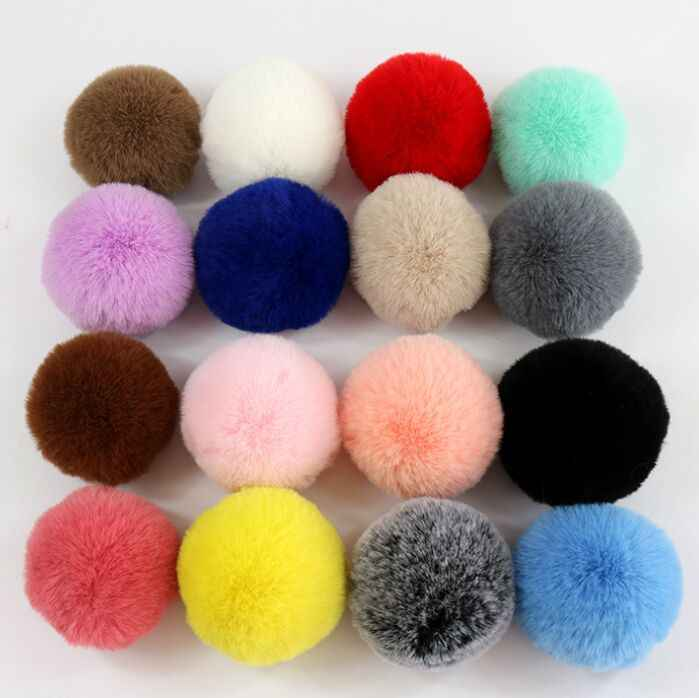 Inverno Multicolor Macio Poliéster Artificial Pele De Raposa Pom pom Pompons Para Gorros De Malha Chapéus E Roupas e Acessórios Da Corrente Chave