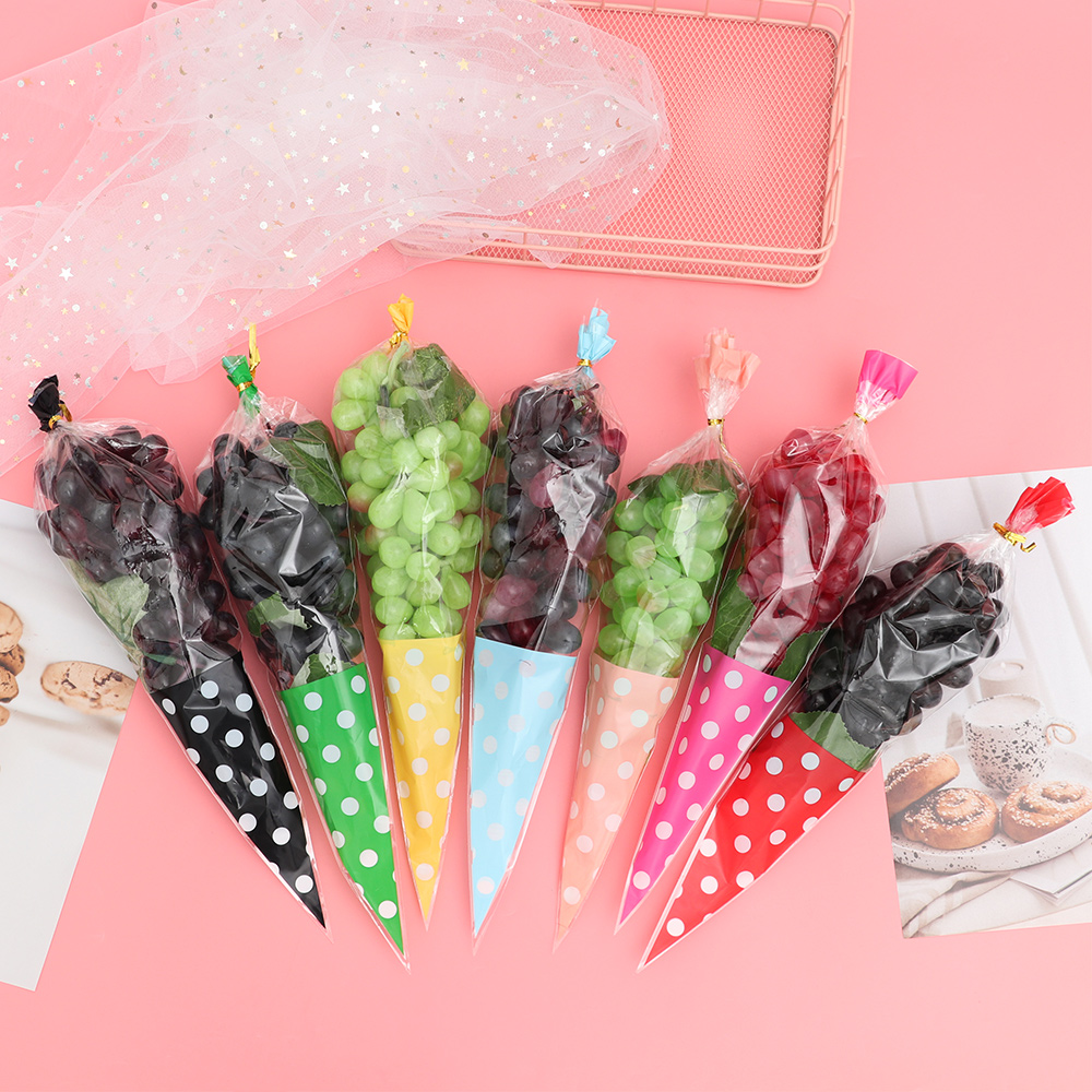 Gift-Bags Cellophane-Cone Transparent-Package Wedding-Favor Sweet Candy Party 50PCS Free-Ties