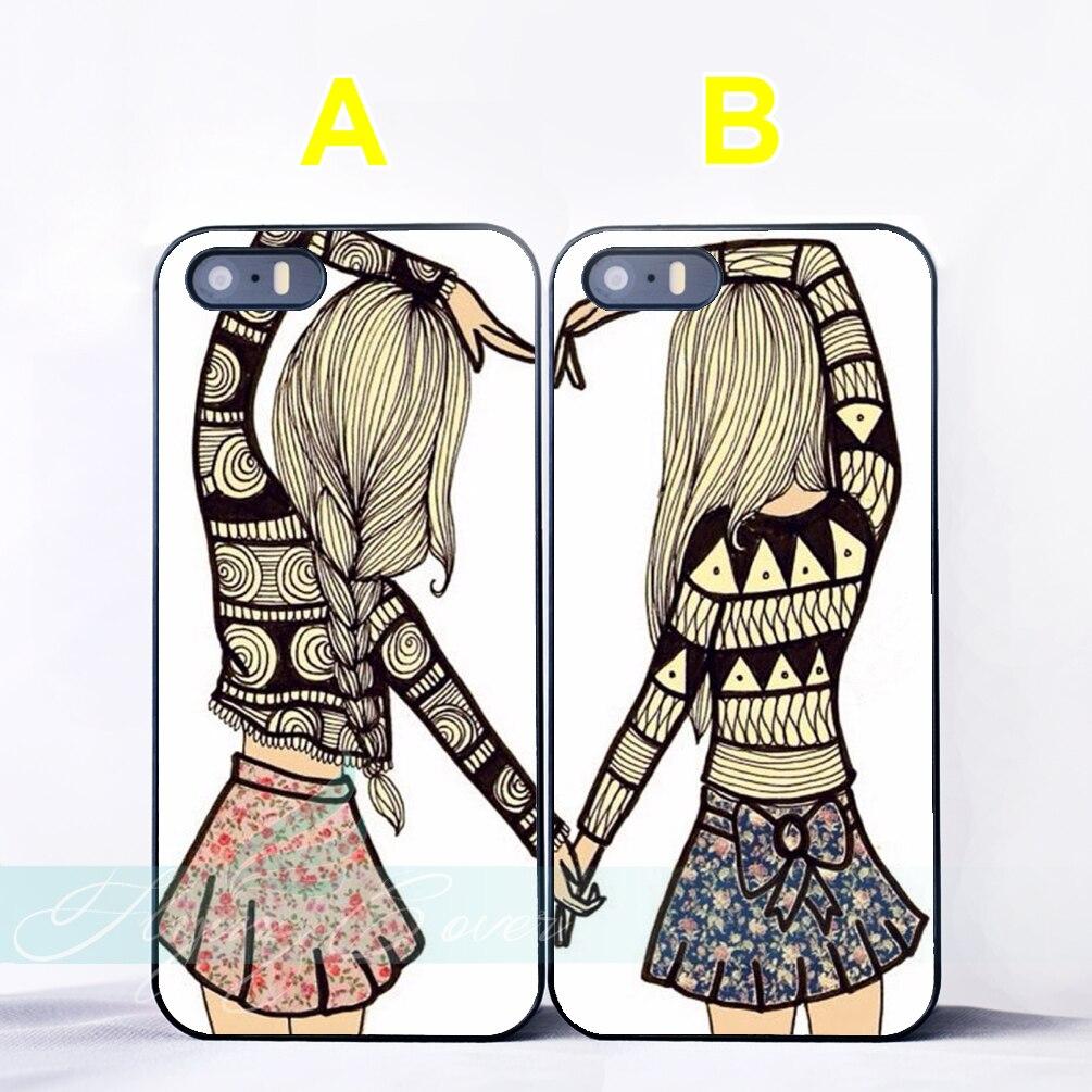 Coque Dziewczyny Kształt Serca BFF Best Friend Para Przypadki dla iPhone X 8 7 6 6 S 7 Plus SE