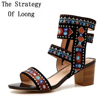 Women Embroidered 2018 Summer New Arrival Thick High Heels Sandals Vintage National Style Retro Front Back