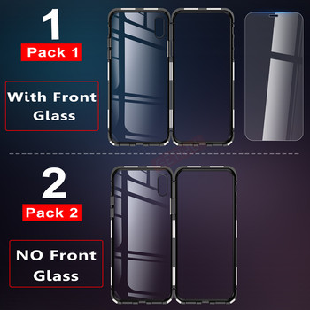 Metal Magnetic iPhone Case +Tempered Glass Back For  XR, XS, X MAX X 8 Plus  5