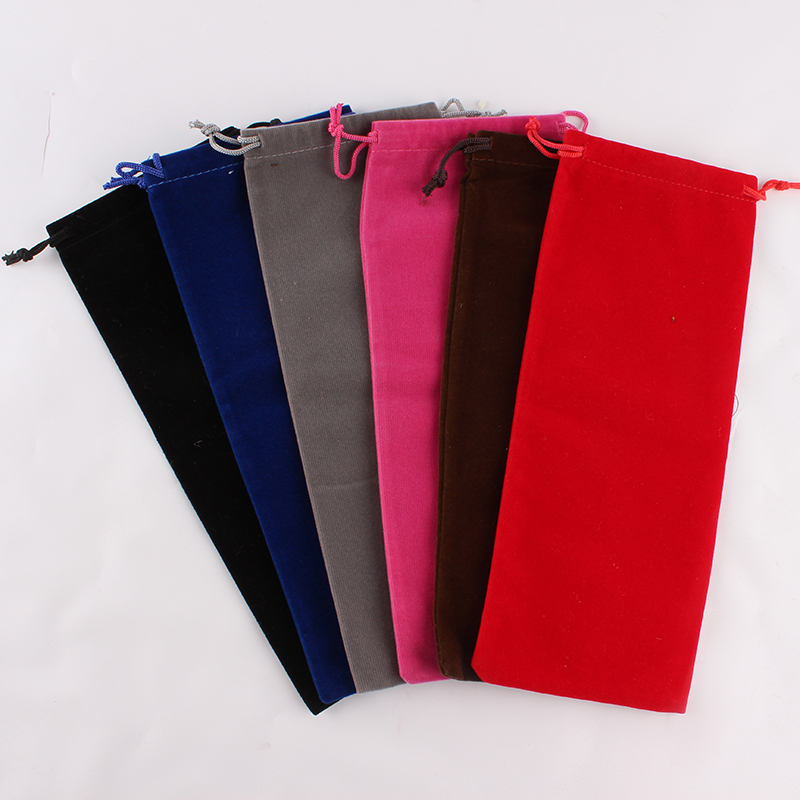 50pcs/lot 10*25cm High Quality Customized Logo Printed Velvet Drawstring Pouch Packing Candies Food Package