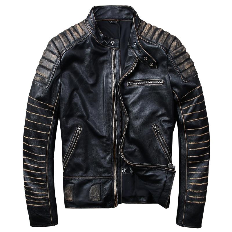 HARLEY QUETSCHE Vintage Noir Hommes Biker En Cuir de Veste Plus La Taille XXXXL Véritable peau de Vache Slim Fit Court Moto En Cuir Manteau