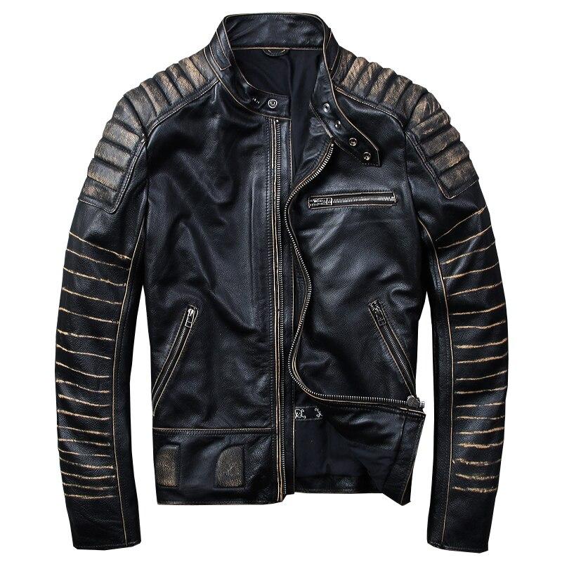 Homens Jaqueta de Couro De Motociclista HARLEY AMEIXA Preta Do Vintage Plus Size XXXXL Couro Genuíno Slim Fit Curto Casaco de Couro Da Motocicleta