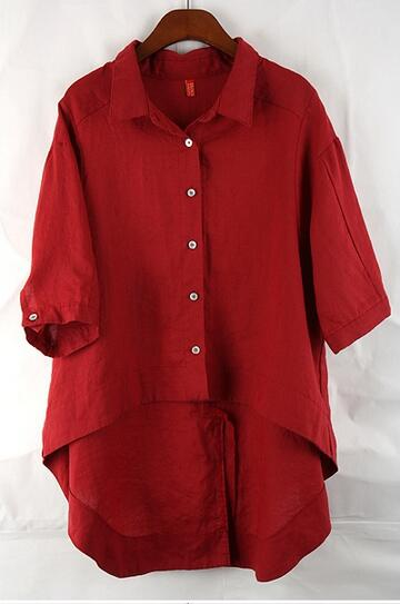 La Vintage Queue Lâche 2017 Clothing Vin Coréenne Mode Blouse Plus Taille Pan Red Peter Chemises Artistique Rouge D'aronde Col OZqWfwx