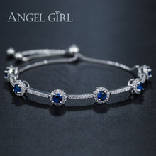 Angelgirl really white gold plated Women Jewelry Austrian Royal Blue Square Crystal Bracelets Bangle For Christmas Gift