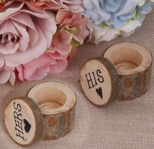 1pair Rustic Decor Wood Wedding Engagement Ring Box Wooden Holder Decoration Event Party Supplies In Favors From Home Garden