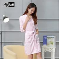 Hot Sale Spring Waffle Robes Women Polyester Solid Color Casual Long Sleeve Bathrobes For Women Hotel