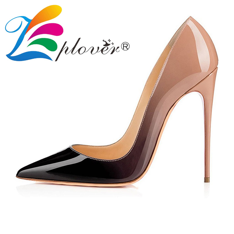 high heels wedding women shoes pumps sexy ladies gradient shoes woman soft leather sapato feminino plus size 34-46 zapatos mujer shoes woman thin high heels women pumps peep toe wedding club ladies valentine shoes zapatos mujer tacon tenis sapato feminino