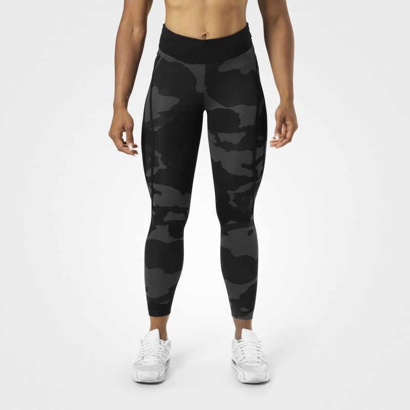 Pantalones de chándal de moda de cintura elástica con estampado de letras de camuflaje para mujer pantalones ajustados de cadera para deporte Streetwear