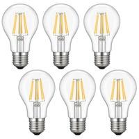 Kohree 6 Packs E26 LED Edison Bulb, 6W Vintage Incandescent Filament Lights NOT Dimmable 2700K Medium Base Lamp, Warm White