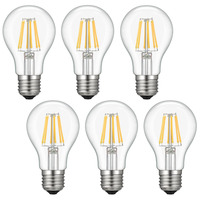 Kohree 6 Packs E26 LED Edison Bulb, 6W Vintage Incandescent Filament Lights NOT Dimmable 2700K Medium Base Lamp, Warm White