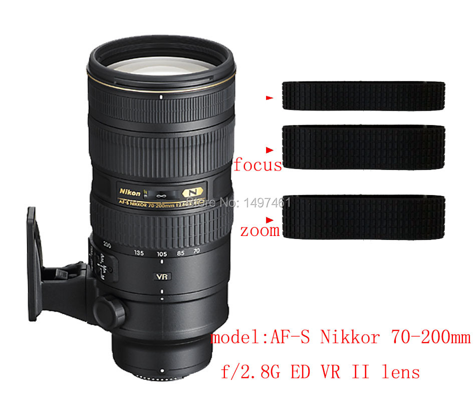 Objectif Zoom et bague de mise au point en caoutchouc/poignée en caoutchouc réparation succdaneum pour Nikon AF-S 70-200mm f/2.8G ED VR II objectif