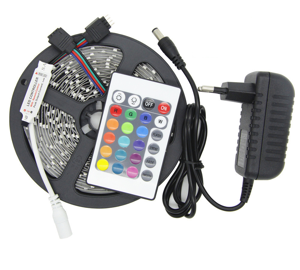 LED RGB strip light 5M 300Led 3528SMD 24Key IR Remote Controller 2A Power Adapter Flexible Light Led Tape Home Decoration Lamp