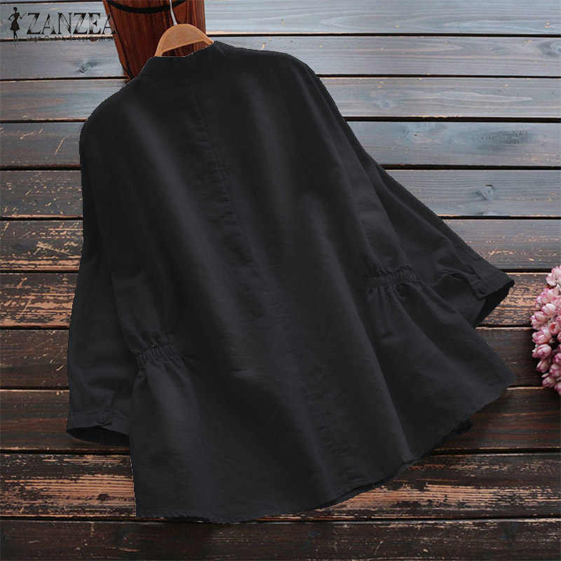 2019 Plus Size ZANZEA Autumn Shirt Women Solid 3/4 Sleeve Elastic Waist Cotton Work Loose Blouse Tunic Tops Femme Blusas Chemise