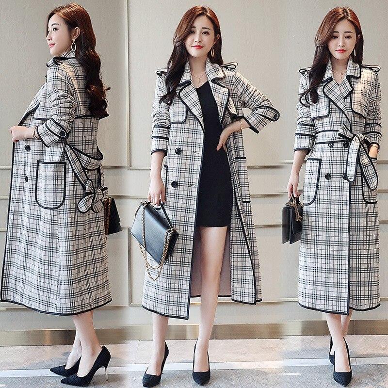 Coréenne Double Revers Plaid Hiver Manteaux Slim Trench Col Breasted Nouvelle Vêtments 2 Femmes vent Long Coupe Femme 1 Fit coat Mode À P8XqXaSnw
