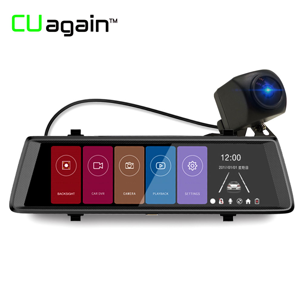 CUagain CU900 DVR 10 Full Mirror Touch Car Camera Rear View Mirror With Camera DVR 1:1 Split View Rearview Mirror Drive Recorder